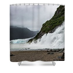 Shower Curtain featuring the photograph Nugget Falls And The Mendenhall by Ed Clark