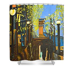 Shower Curtain featuring the painting Nuit De Pluie by Donna Blossom