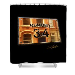 Number 34 Shower Curtain by Charles Stuart