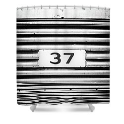 Number 37 Metal Square Shower Curtain by Terry DeLuco