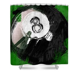 Number Eight Billiards Ball Abstract Shower Curtain by David G Paul