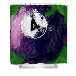 Number Four Billiards Ball Abstract Shower Curtain by David G Paul