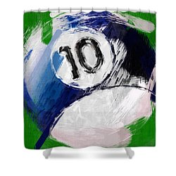 Number Ten Billiards Ball Abstract Shower Curtain by David G Paul