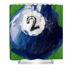 Number Two Billiards Ball Abstract Shower Curtain by David G Paul