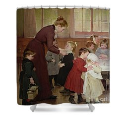 Nursery School Shower Curtain by Hneri Jules Jean Geoffroy