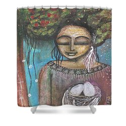 Shower Curtain featuring the mixed media Nurture Nature by Prerna Poojara