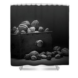Shower Curtain featuring the photograph Nuts In Black And White by Tom Mc Nemar