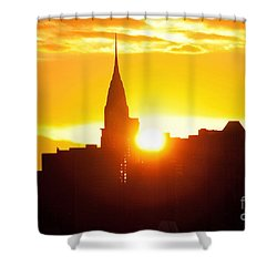 Ny Chrysler Building Sunrise Shower Curtain by Regina Geoghan