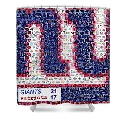 Ny Giants Super Bowl Mosaic Shower Curtain by Paul Van Scott