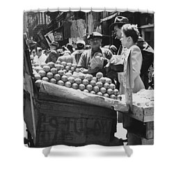 Ny Push Cart Vendors Shower Curtain by Underwood Archives