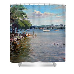 Nyack Park By Hudson River Shower Curtain