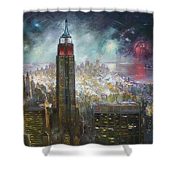 Nyc. Empire State Building Shower Curtain by Ylli Haruni