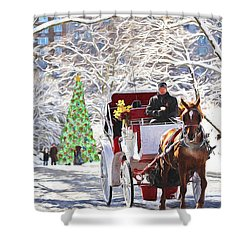 Festive Winter Carriage Rides Shower Curtain