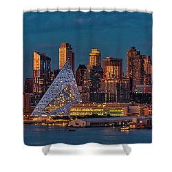 Shower Curtain featuring the photograph Nyc Golden Empire by Susan Candelario
