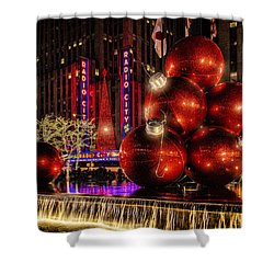 Shower Curtain featuring the photograph Nyc Holiday Balls by Chris Lord