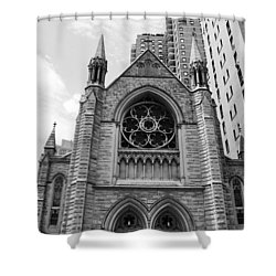 Nyc Holy Trinity Church - Black And White Shower Curtain