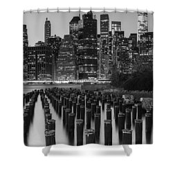 Shower Curtain featuring the photograph Nyc Skyline Bw by Laura Fasulo