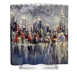 Shower Curtain featuring the painting Nyc Lights by Tatiana Iliina
