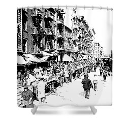 Nyc Lower East Side - 1902 -market Day Shower Curtain by Merton Allen