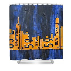 Nyc New York City Skyline With Lady Liberty And Freedom Tower Recycled License Plate Art Shower Curtain by Design Turnpike