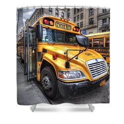 Nyc School Bus Shower Curtain by Yhun Suarez