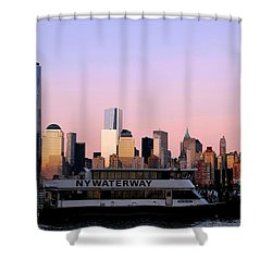 Nyc Skyline With Boat At Pier Shower Curtain by Matt Harang