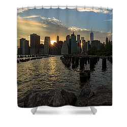 Shower Curtain featuring the photograph Nyc Sunset by Anthony Fields