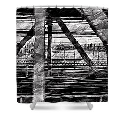 Shower Curtain featuring the photograph Nyc Train Bridge Tracts by Joan Reese