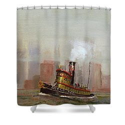 Nyc Tug Shower Curtain by Christopher Jenkins