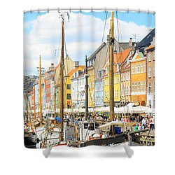 Nyhavn Shower Curtain by Calvin Roberts Photography