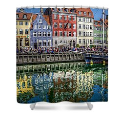 Nyhavn Harbor Area, Copenhagen Shower Curtain