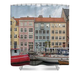 Shower Curtain featuring the photograph Nyhavn Waterfront In Copenhagen by Antony McAulay