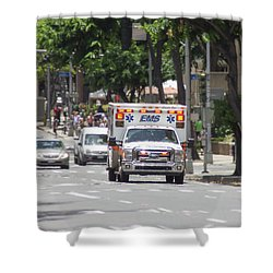 Shower Curtain featuring the photograph Oahu Emergency by RKAB Works