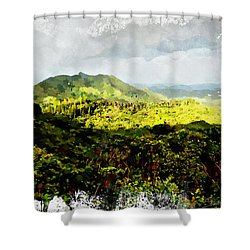 Shower Curtain featuring the digital art Oahu Landscape by Kai Saarto