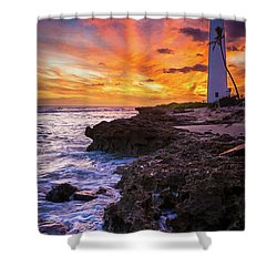 Oahu Lighthouse Shower Curtain by Inge Johnsson