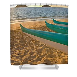 Oahu, Outrigger Canoes Shower Curtain by Tomas del Amo - Printscapes