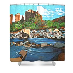 Shower Curtain featuring the painting Oak Creek Canyon by Donna Blossom