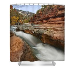 Shower Curtain featuring the photograph Oak Creek In Slide Rock State Park by Tim Fitzharris