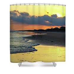 Oak Island Yellow Sunset Shower Curtain