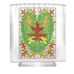 Shower Curtain featuring the digital art Oak Leaf In A Heart by Lise Winne