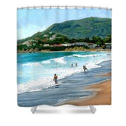 Oak Street Beach, Laguna Beach Shower Curtain by Alice Leggett