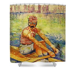 Oarsman Shower Curtain by Cynthia Powell