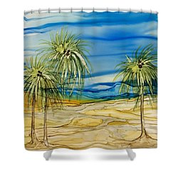 Shower Curtain featuring the painting Oasis by Pat Purdy