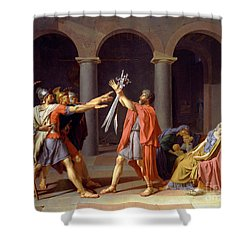 Shower Curtain featuring the painting Oath Of The Horatii by Celestial Images