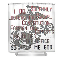 Shower Curtain featuring the mixed media Oath by TortureLord Art