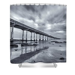 O.b. Pier Monochrome Shower Curtain by Joseph S Giacalone