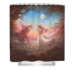 Oberon And Titania Shower Curtain by Jack Shalatain