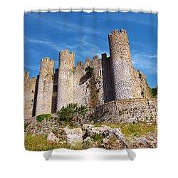 Obidos Castle Shower Curtain by Carlos Caetano
