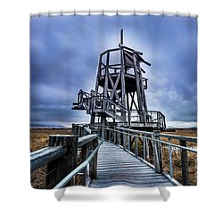 Observation Tower - Great Salt Lake Shorelands Preserve Shower Curtain by Gary Whitton