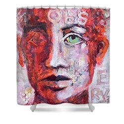 Shower Curtain featuring the painting Observe by Mary Schiros